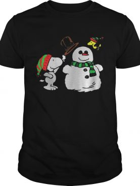 Snoopy Woodstock and Snow Christmas ugly sweater tshirt