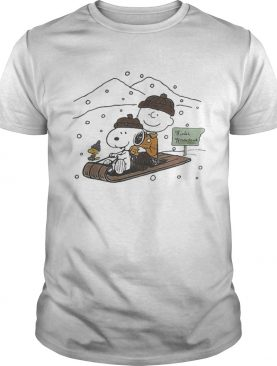 Snoopy and Charlie snowboarding winter shirt