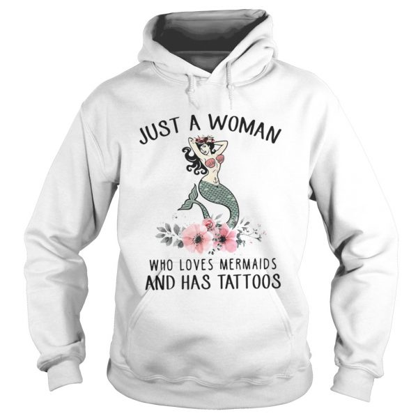 Just a woman who loves Mermaids and has tattoos shirt Ladies V-Neck