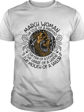 Mermaid with harp March woman the soul of mermaid the fire of a lioness shirt