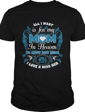 All I want is for my mom in heaven to know how much I love and miss her shirt