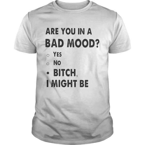 Are you in a bad mood yes no bitch I might be Guy shirt