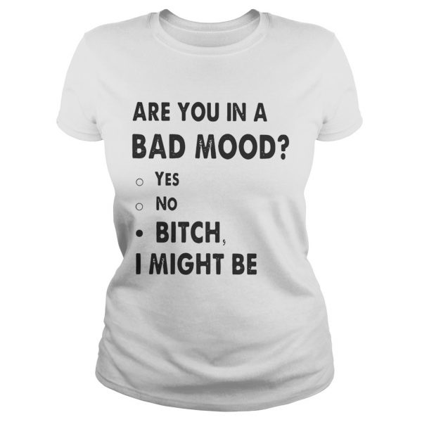 Are you in a bad mood yes no bitch I might be Ladies shirt