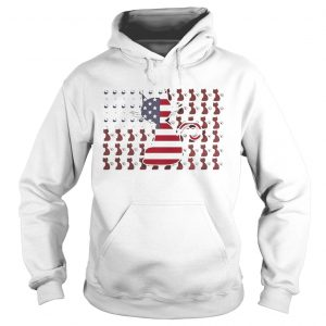 Cat and Wine American Flag Hoodie shirt