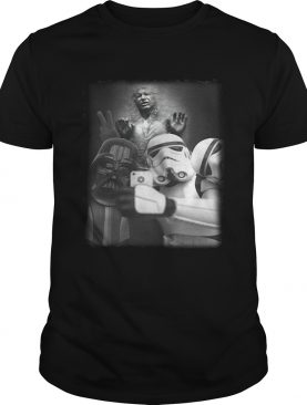 Darth Vader and Stormtrooper selfie with Han Solo in Carbonite shirt