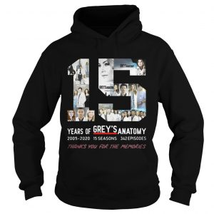 15 Years Of Grey's Anatomy Thank You For The Memories Hoodie shirt