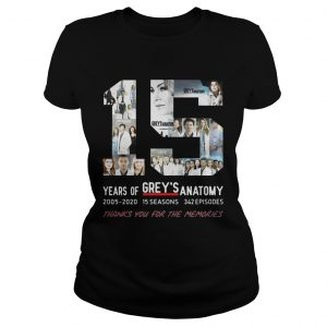 15 Years Of Grey's Anatomy Thank You For The Memories Ladies shirt