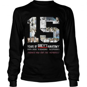 15 Years Of Grey's Anatomy Thank You For The Memories Longsleeve shirt