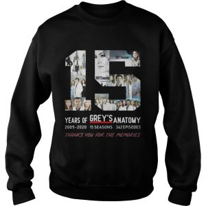 15 Years Of Grey's Anatomy Thank You For The Memories Sweat shirt