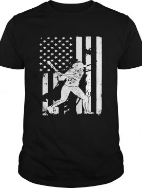 Baseball Player With American Flag TShirt
