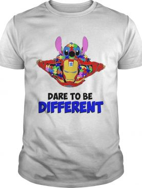 Stitch and iron dare to be different autism tshirt