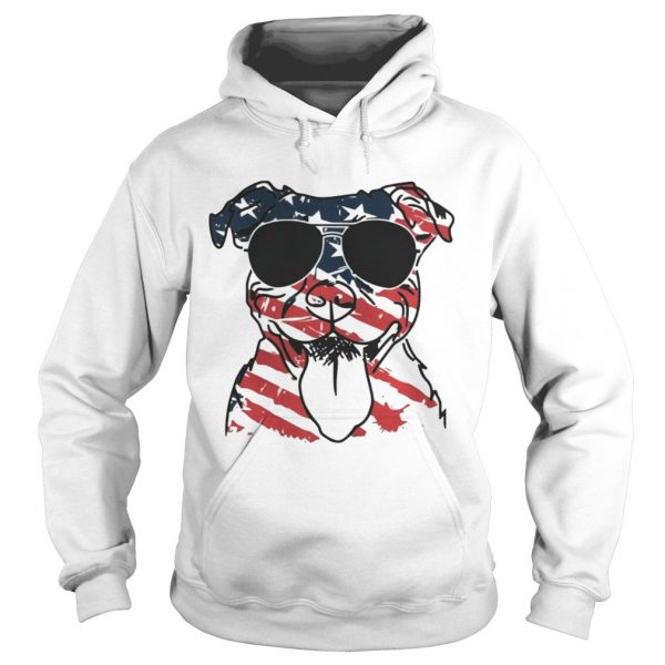 4th Of July Pitbull American Flag Hoodie Shirt