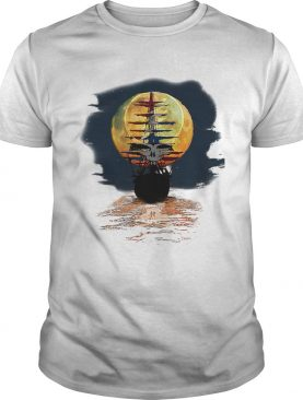 America skull full moon night and the ship tshirt