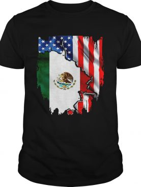 Coat of arms of Mexico inside American flag tshirt