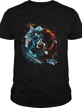 Fire dragon and ice dragon battle tshirt
