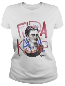 Frida Kahlo self-portrait with pink flowers tshirt