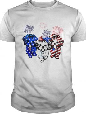 Independence day 4th of July Shih Tzu beauty America flag tshirt