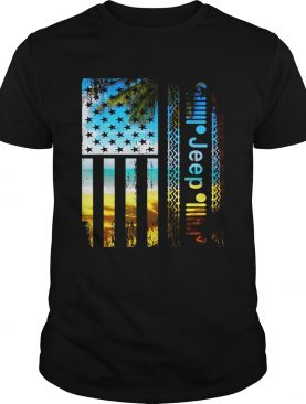 Jeep American flag summer beach tshirt