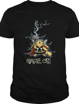 Pikachu being the God of Thunder Thor game on tshirt