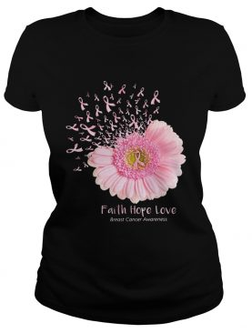 Pink daisy faith hope love breast cancer awareness tshirt