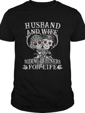 Tattoo and skull Husband and wife riding partners for life tshirt