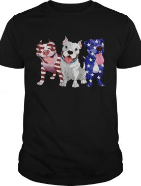 Three Pitbull American Flag tshirt