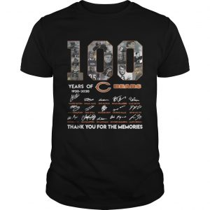 100 years of Chicago Bears 1920 2020 signature thank you for the memories Unisex shirt