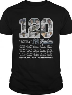 120 years of New York Yankees signature thank you for the memories t-shirt