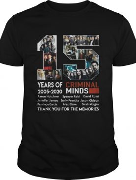 15 years of Criminal Minds 2005-2020 thank you for the memories t-shirt