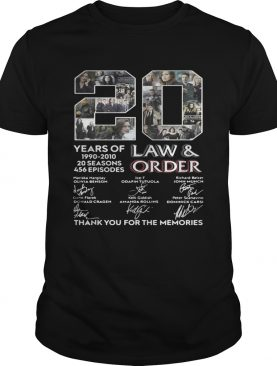 20 years of Law and Order 1990 2010 20 seasons 456 episodes signature t-shirt