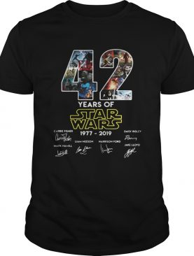 42 years of star wars 1977-2019 signatures t-shirt
