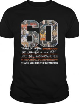 60 years of Denver Broncos signature Super Bowl Champions thank you t-shirt