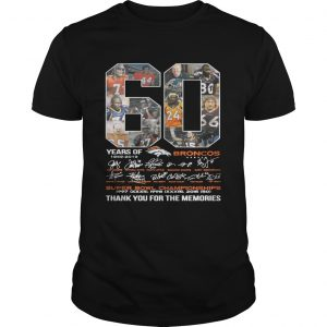 60 years of Denver Broncos signature Super Bowl Champions thank you Unisex shirt