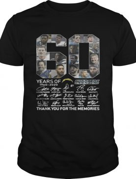 60 years of Los Angeles Chargers 1960 2020 signature thank you for the memories t-shirt