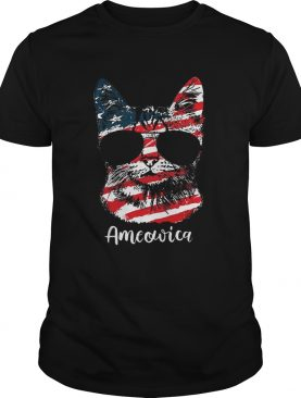 Ameowica 4th of July party meow cat American flag t-shirt