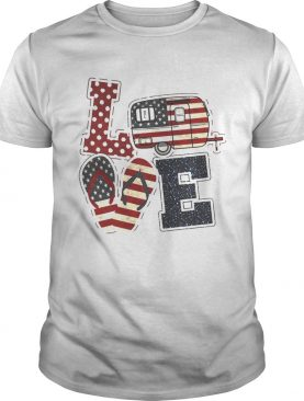 American Flag July 4th Car Sandals Love T-Shirt