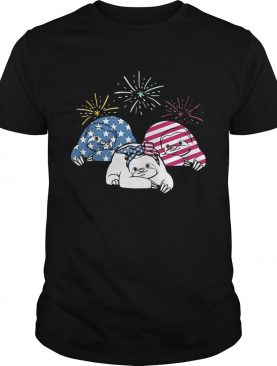 American Flag Sloths For Independence Day Funny Tshirt