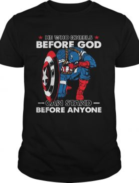Captain America he who kneels before god can stand before anyone t-shirt