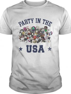 Chibi Marvel characters party in the USA t-shirt