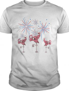 Dabbing Flamingo With Wine Glass Firework 4th Of July American Flag t-shirt