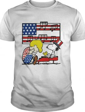 Fourth of July Schroeder playing piano Woodstock and Snoopy t-shirt