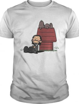 John Wick and dog in the style of peanuts Charlie Brown and Snoopy t-shirt