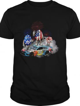 Kyle Busch M&M flag america 18 hazelnut spread t-shirt