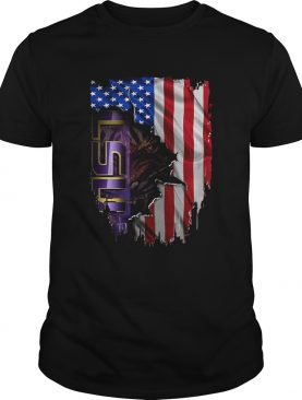 Louisiana State University LSU Tigers inside American flag t-shirt