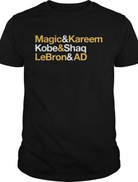 Magic and Kareem Kobe and Shaq LeBron and AD Los Angeles Lakers t-shirt