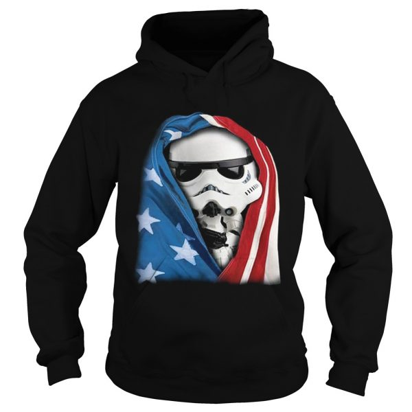Storm Trooper Star War wearing US flag Hoodie shirt