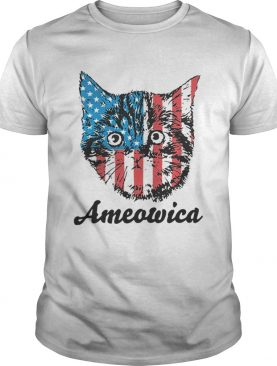 Top Ameowica Cat 4th of July Independence Day American flag t-shirt