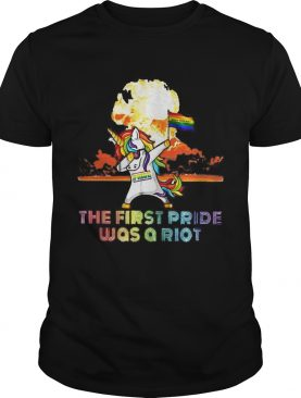 Unicorn Dabbing the first pride was a Riot LGBT born this way t-shirt