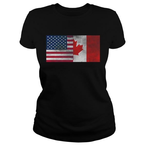 United States Of American And Canada Flag Fourth Ladies shirt