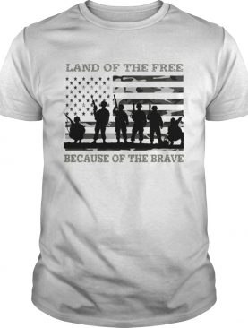 Veteran land of the free because of the brave American flag t-shirt